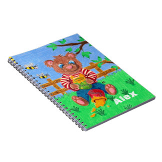 Bear eating honey kid personalized notebook