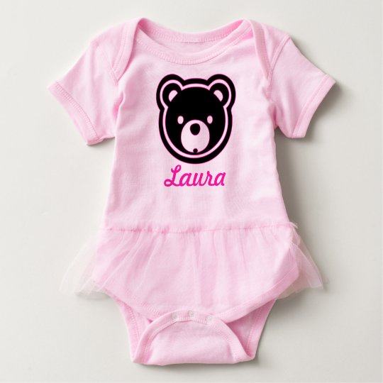 Bear Face in Black and Pink - Add Name Baby Tutu Baby Bodysuit