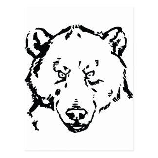 Bear face outline postcards
