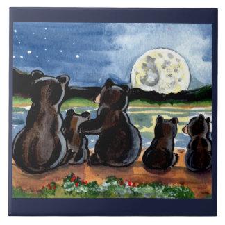 """Bear Family and Moon Night 6"""" Ceramic Tile Trivet"""