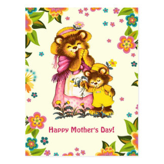 Bear Family. Mother's Day Customizable Postcards