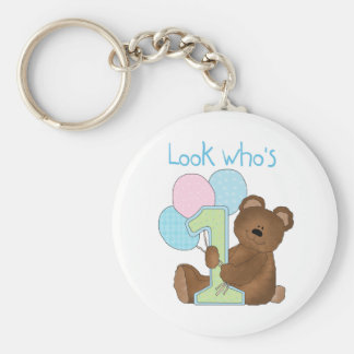 Bear First Birthday Blue Tshirts and Gifts Basic Round Button Key Ring