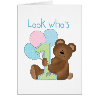 Bear First Birthday Blue Tshirts and Gifts Greeting Card