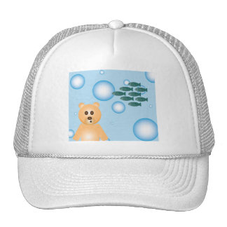 bear, fish, and bubbles hat