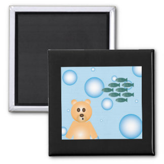 bear, fish, and bubbles magnet