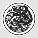 Bear & Fish Native American Design Round Sticker