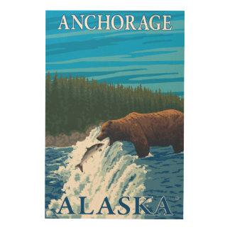 Bear Fishing in River - Anchorage, Alaska Wood Wall Decor