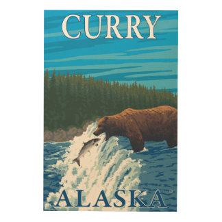Bear Fishing in River - Curry, Alaska Wood Print