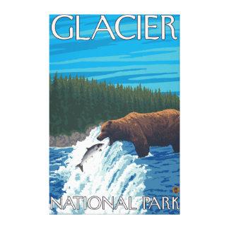 Bear Fishing in River - Glacier National Park, Canvas Print