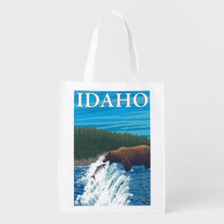 Bear Fishing in River - Idaho Reusable Grocery Bag