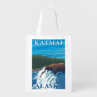 Bear Fishing in River - Katmai, Alaska Reusable Grocery Bag