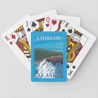 Bear Fishing in River - Latouche, Alaska Playing Cards