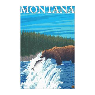 Bear Fishing in River - Montana Canvas Print