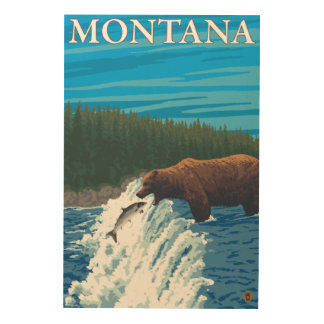 Bear Fishing in River - Montana Wood Print