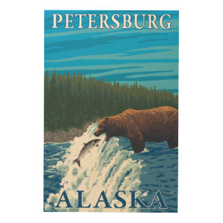 Bear Fishing in River - Petersburg, Alaska Wood Print