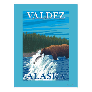 Bear Fishing in River - Valdez, Alaska Postcard