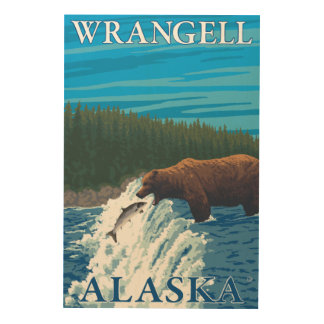 Bear Fishing in River - Wrangell, Alaska Wood Print