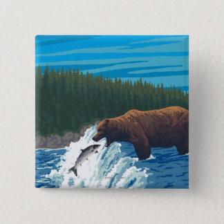 Bear Fishing in River - Wyoming 15 Cm Square Badge