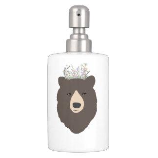 Bear Flower Crown Soap Dispenser And Toothbrush Holder