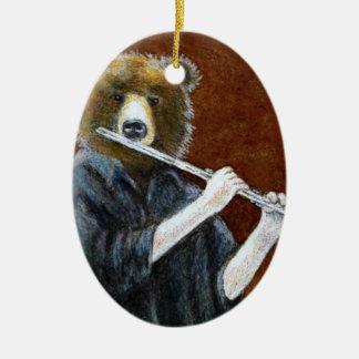 Bear Flute Player Ornament