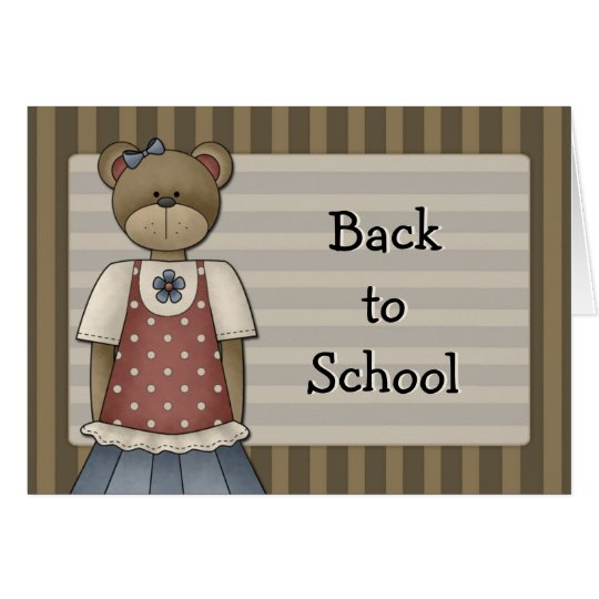 Bear Girl Design - Back to School Card