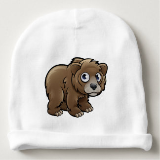 Bear Grizzly Animals Cartoon Character Baby Beanie