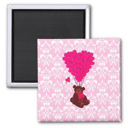 Bear & heart balloons on pink damask refrigerator magnet
