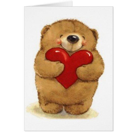 Bear Holding Heart - Valentine Card