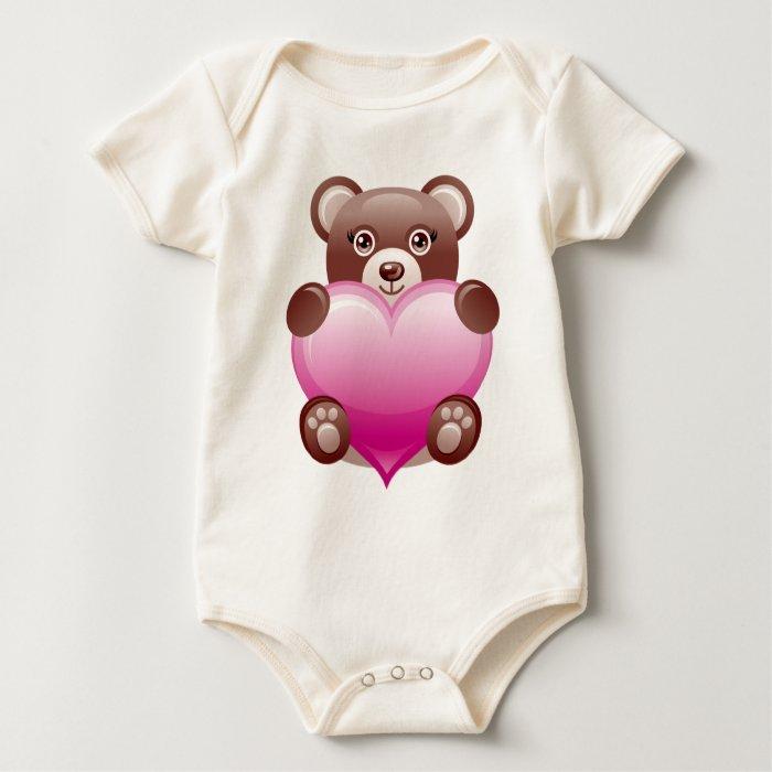 BEAR HOLDING PINK HEART BABY BODYSUIT