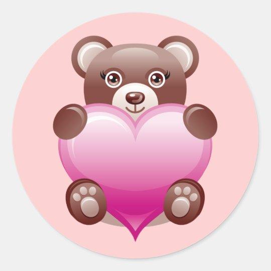 BEAR HOLDING PINK HEART ROUND STICKER