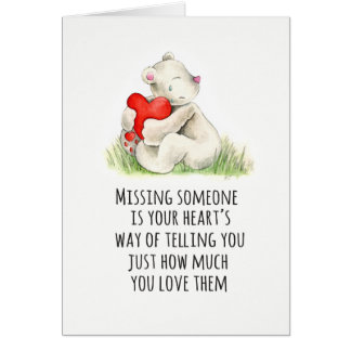 Bear hug heart condolences sympathy card