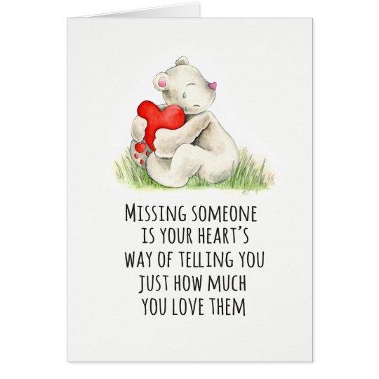 Bear hug heart condolences sympathy card