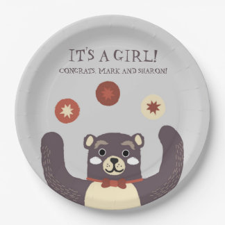 Bear Hug It's a Girl Baby Couples Shower Paper Plate