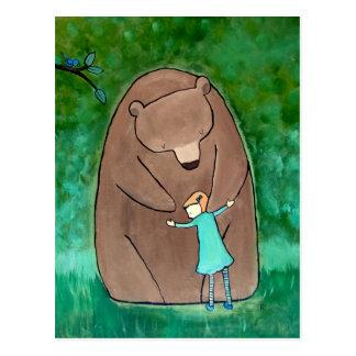 Bear Hug Kids Art Cute Whimsical Green Postcard