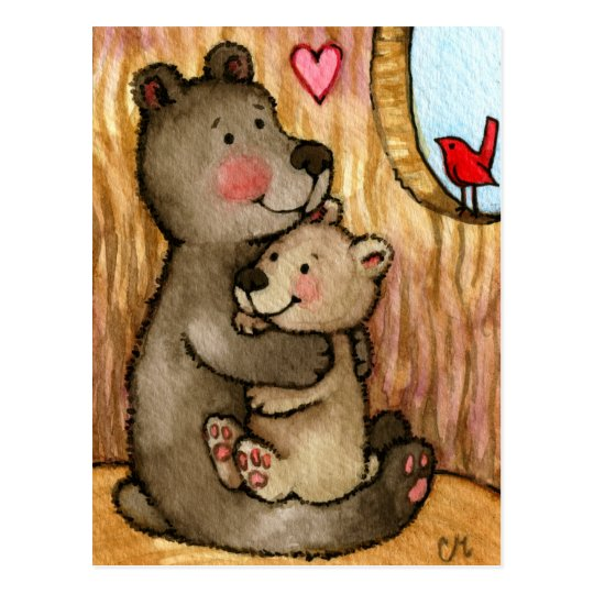 Bear Hugs - Cute Teddy Bear Art Postcard