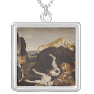Bear Hunt or, Battle Between Dogs and Bears Silver Plated Necklace