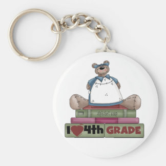 Bear I Love 4th Grade Basic Round Button Key Ring