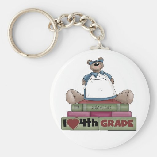 Bear I Love 4th Grade Key Chains