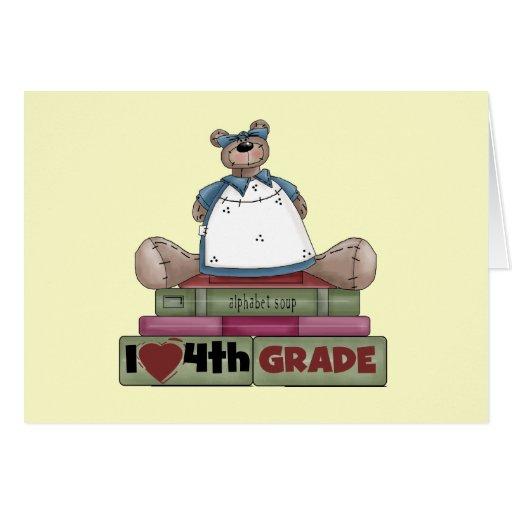 Bear I Love 4th Grade T-shirts and Gifts Card