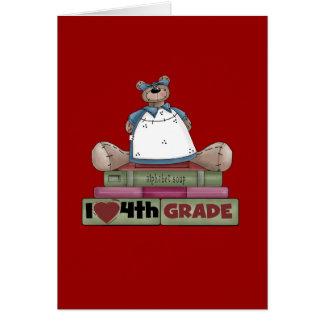 Bear I Love 4th Grade T-shirts and Gifts Greeting Card