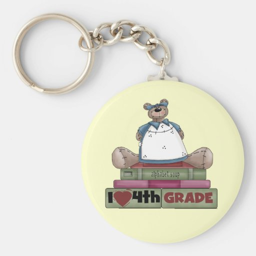 Bear I Love 4th Grade T-shirts and Gifts Keychain