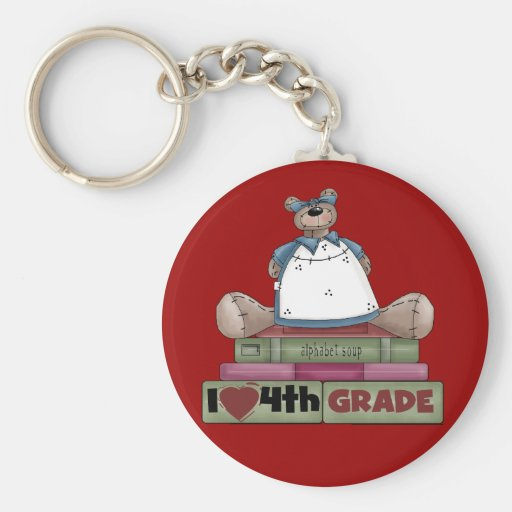 Bear I Love 4th Grade T-shirts and Gifts Key Chain