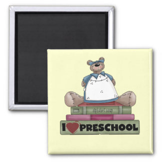 Bear I Love Preschool Tshirts and Gifts Square Magnet