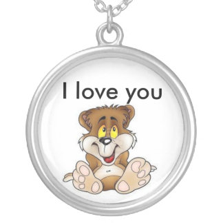 bear, I love you Round Pendant Necklace