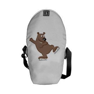 Bear Ice Skating Messenger Bags