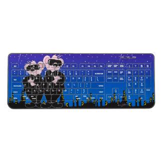 BEAR IN BLACK CARTOON Custom Wireless Keyboard