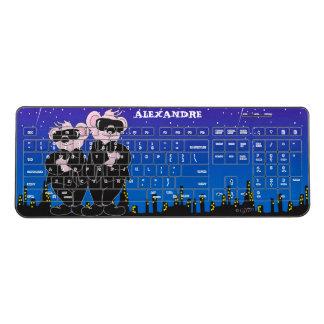 BEAR IN BLACK CARTOON Custom Wireless Keyboard 2