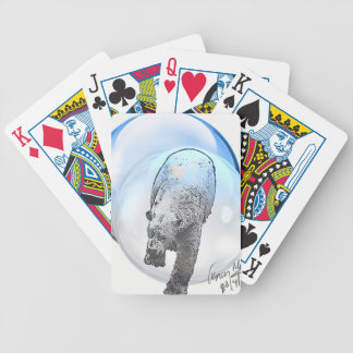 Bear in bubble motif bicycle playing cards