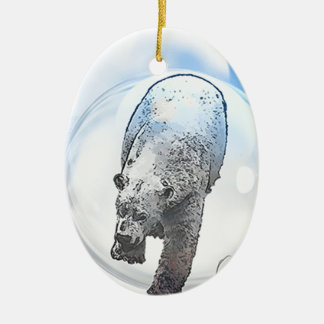 Bear in bubble motif ceramic oval decoration