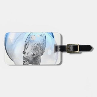 Bear in bubble motif luggage tag